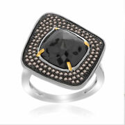 Heavy 7.58 Ct Black Rough And Brown Diamond 18k Gold And Sterling Fashion Ring Sz 7