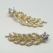 14k Solid Yellow Gold Feather Shape Hook 24mm White Topaz Earrings