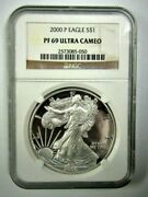 2000-p American Silver Eagle 1 Oz - Graded By Ngc Proof - Pf-69 ⭐315⭐v4⭐