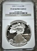 2000-p American Silver Eagle 1 Oz - Graded By Ngc Proof - Pf-69 ⭐316⭐v4⭐