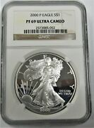 2000-p American Silver Eagle 1 Oz - Graded By Ngc Proof - Pf-69 ⭐317⭐v4⭐