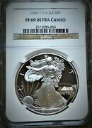 2000-p American Silver Eagle 1 Oz - Graded By Ngc Proof - Pf-69 ⭐318⭐v4⭐