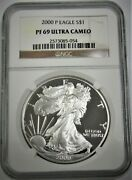 2000-p American Silver Eagle 1 Oz - Graded By Ngc Proof - Pf-69 ⭐319⭐v4⭐
