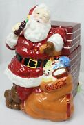 Coca Cola Coke Cookie Jar Santa At Fireplace Gibson In Box New 2005 Toys Train