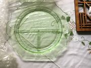 Anchor Hocking Green Princess Depression Glass 10 1/2 Grill Plate