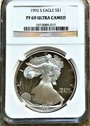 1992 S Proof Silver Eagle Ngc Pf 69 Ultra Cameo Edge View ⭐321⭐v71⭐
