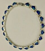 Rare Vintage Mexico Tc-264 Sterling Silver 950 Azurite Link Statement Necklace