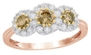 1 Ct Round Cut Brown Diamond Three Stone Frame Engagement Ring In 10k Rose Gold