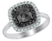 1.37 Ct Black And White Natural Diamond Double Frame Ring In 14k White Gold