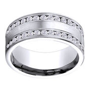 14k White Gold 0.64 Ct Diamond 8mm Comfort Fit Double Row Band Ring Sz 10