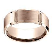 14k Rose Gold 8.00 Mm Comfort-fit Menand039s Anniversary And Engagement Band Ring Sz-12
