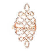 1 Ct Round Cut D/vvs1 Solid 14k Rose Gold Woven Lace Ring