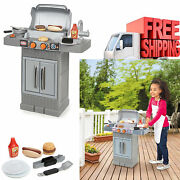 Kids Kitchen Play Set Pretend Food Accessories Bbq Barbecue Grill Toy Cooking