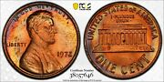 1972-p Lincoln Cent Pcgs Ms64rb Choice Unc Beautiful Rainbow Toned Color Bu Dr