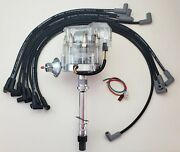 Chevy 350 Clear Cap Hei Distributor + 8.5mm Black Plug Wires Over Valve Covers