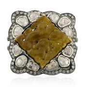 Memorial Day Sale 12.79ct Jade Cocktail Ring 18k Yellow Gold 925 Silver Jewelry