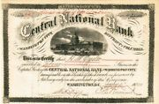 Central National Bank Of Washington City Dc - Stock Certificate