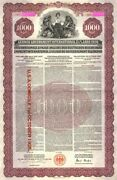 German Young Gold Loan Uncancelled 1000 Denominated Bond Of 1930 With Pass-co