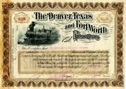 Sidney Dillon - Denver Texas And Fort Worth Railroad Company - Stock Certificat