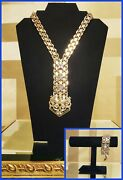 New Versace 24k Gold Plated With Silver Stars Necklace And Bracelet