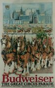 Budweiser Beer Poster The Great Circus Parade Milwaukee Wisconsin Sklyline 1986