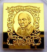 Mexico 1/2 Real Stamp 1856 Costilla 24 Kt Gold Plated On Silver Proof Rare