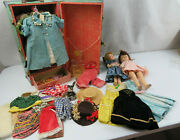 Lot Of Antique Dolls Made In Usa Clothes And Case Ideal Doll Teeth Sleeping Eyes