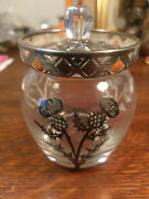 Rockwell Thistle Silver Overlay Glass Jar Enamel Decoration Sugar Jelly Rare Old