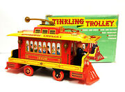 Htf Vintage Modern Toys Of Japan Battery Operated Tinkling Trolley Tin Toy