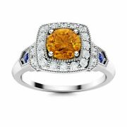 0.76 Carat Natural Citrine And Diamond Sapphire Vintage Ring In 14k White Gold