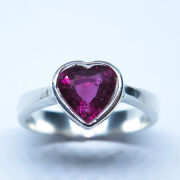 1.05ct Natural Red Tourmaline Rubelite Silver Gold Platinum Ring All Sizes