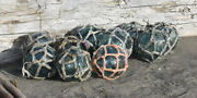 Vintage Japanese Glass Fishing Floats 3 Netted Lot Of 10