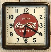 Very Rare 1939 Coca Cola Wooden Wall Clock--beauty--reduced
