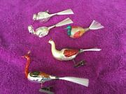 5 Vintage Glass Blown Birds With Glass Spun Tails Swans, Peacocks