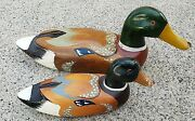 2 Vintage Antique Wood Hunting Duck Decoys Unmarked 1 Large And 1 Small Nice