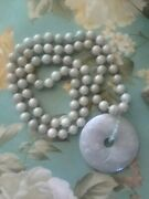 Antique 19th C. Chinese Celadon Jade Hc Pendant Beaded 18 In Necklace, Stunning