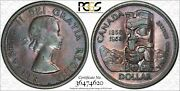 1958 Canada Death Silver Dollar Pcgs Ms62 Monster Toned Deep Purple Color Dr