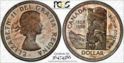 1958 Canada Death Silver Dollar Pcgs Ms64 Beautiful Toned Color Choice Unc Dr