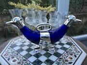 Rare Lge Victorian Bristol Blue Glass Silver Plated Double Ended Duck Decanter