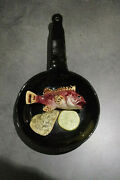 French Palissy Vallauris Majolica Trompe L Oeil Plate Pan Stove Fish Oyster 60