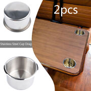 2pcs Recessed Stainless Steel Drink Holder Brushed For Rv Camper Truck Boat