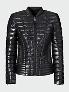 Guess Jeans Womens Jacket Thermore Padded Black Baseball Ship World