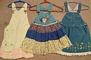 Girls Size 6/7 Blue Jean And Khaki Jumper Dress With Ruffles Cotton Fabric