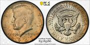 1967-p Silver Kennedy Half Dollar Pcgs Ms65 Crescent Toned Unc Choice Color Dr