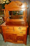 Antique Larkin Oak Sideboard Buffet Hutch With Mirrored Back And Shelves 1890-1920