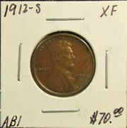 Ab1 1912-s Lincoln Wheat Cent Xf With Free Shipping