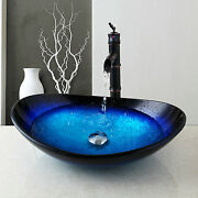 Bathroom Tempered Glass Vessel Sink Faucet Basin Mix Oil Rubbed Bronze Tap
