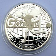 Congo 10 Francs 2004 Silver Coin Proof Fifa World Cup Soccer Germany 2006