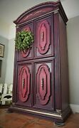 Purple Plum Chalk Paint Solid Wood Armoir 4-drawer Hand-painted New Backing