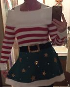 Christmas Elf Sweater Dress With Sequins For Belt And Stars - Be One Of A Kind